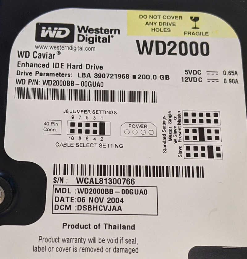 Western Digital Caviar WD2000 200GB HDD Jumper