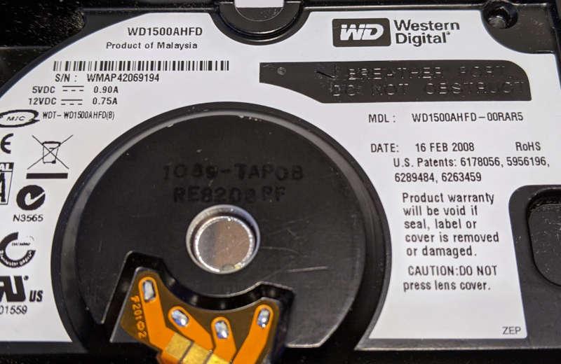 Western Digital WD1500AHFD Raptor X 150GB Label