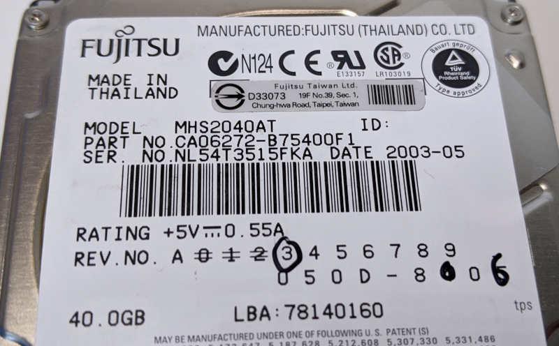 "Fujitsu HDD MHS2040AT 40GB 2,5"" CA06272-B75400F1"
