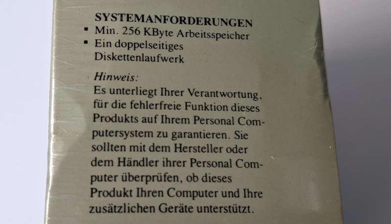 Microsoft MS-DOS 3.3 Betriebssystem Systemanforderungen