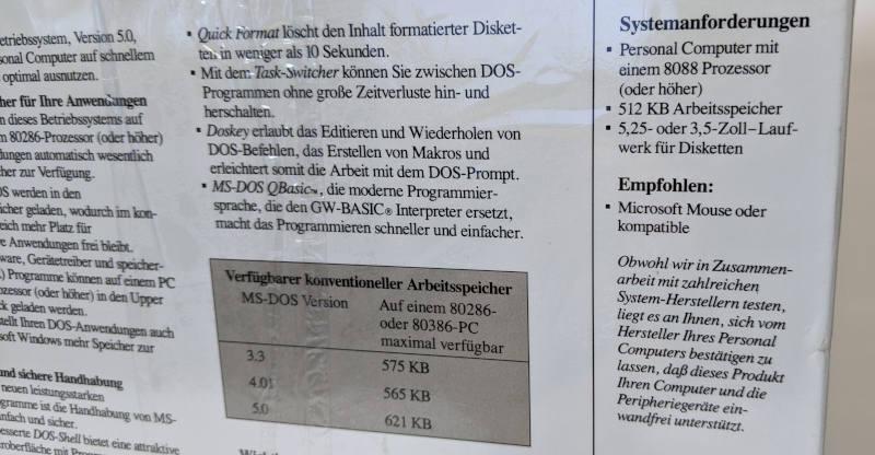 Microsoft MS-DOS 5 Betriebssystem Systemanforderungen