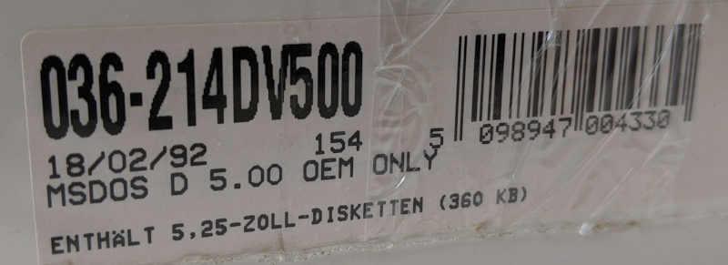 "Microsoft MS-DOS 5 Betriebssystem OEM 5,25"" Disketten"