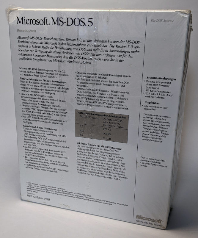 Microsoft MS-DOS 5 Betriebssystem Verpackung