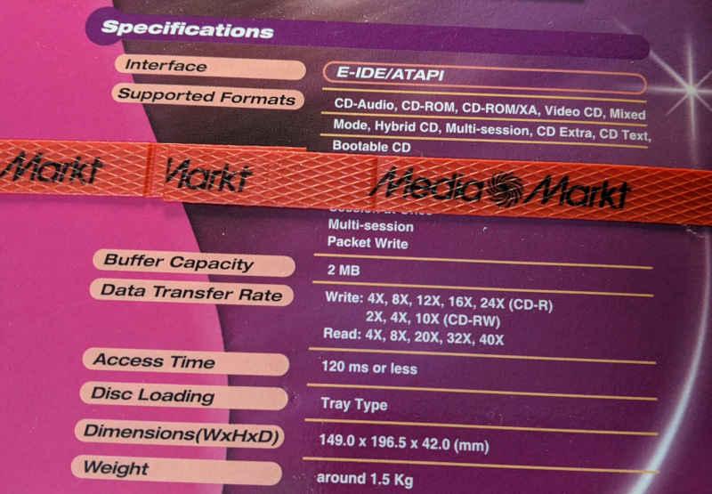 AOpen CRW2440 91.60D37.011 CD Recorder - ATAPI - Media Markt
