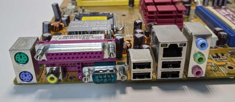 Asus P5NSLI PC-Mainboard IO-Shield Schnittstellen