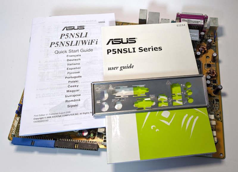 Asus P5NSLI PC-Mainboard Handbuch Manual IO-Shield