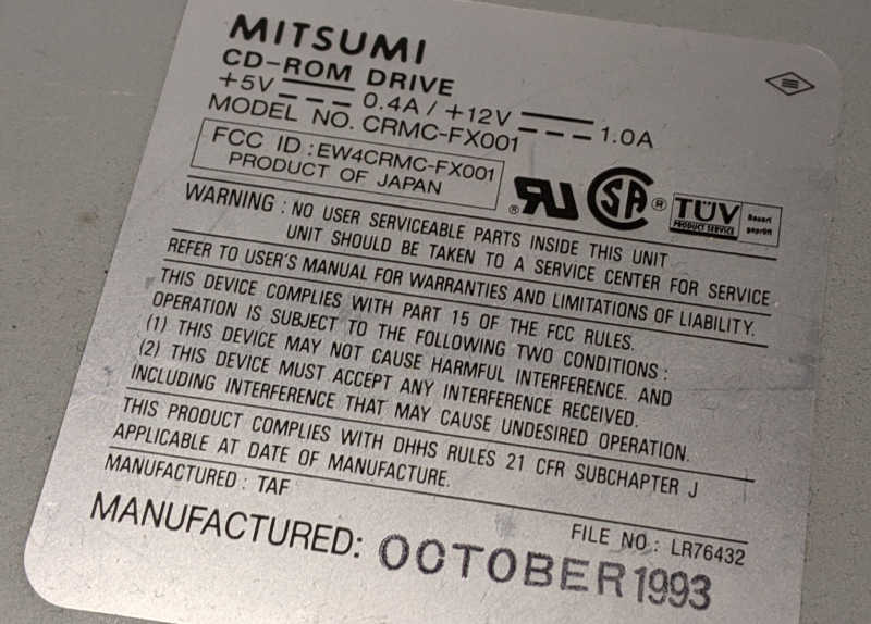 Mitsumi CRMC-FX001 CD-ROM Laufwerk non-IDE - Label - 1993