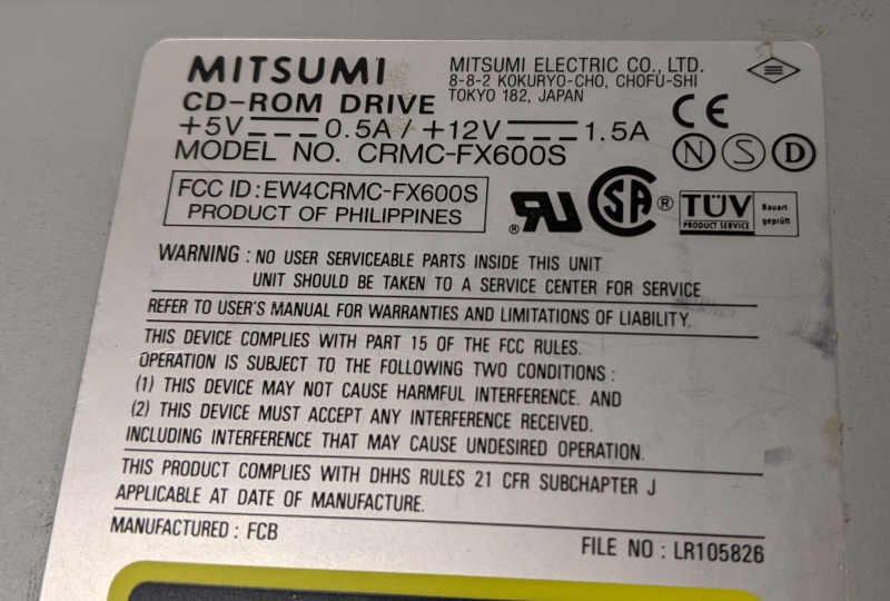 Mitsumi CRMC-FX600S CD-ROM ATAPI EW4CRMC-FX600S
