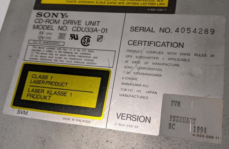 Sony CDU33A-01 CD-ROM Version 4-964-335-01