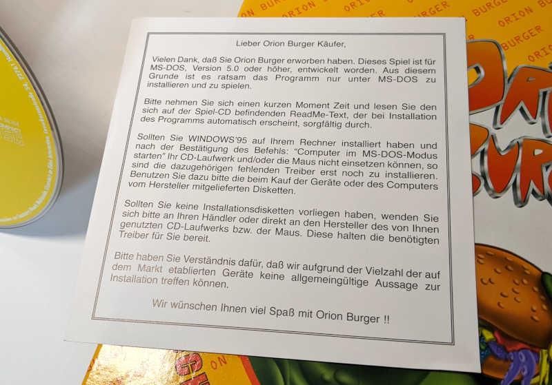 Eidos PC-Spiel Orion Burger Big-Box Manual Anleitung