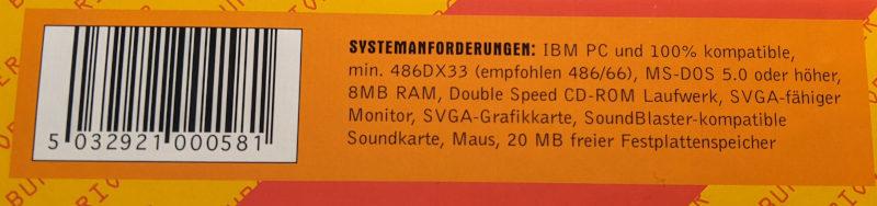 Eidos PC-Spiel Orion Burger Big-Box Systemanforderungen