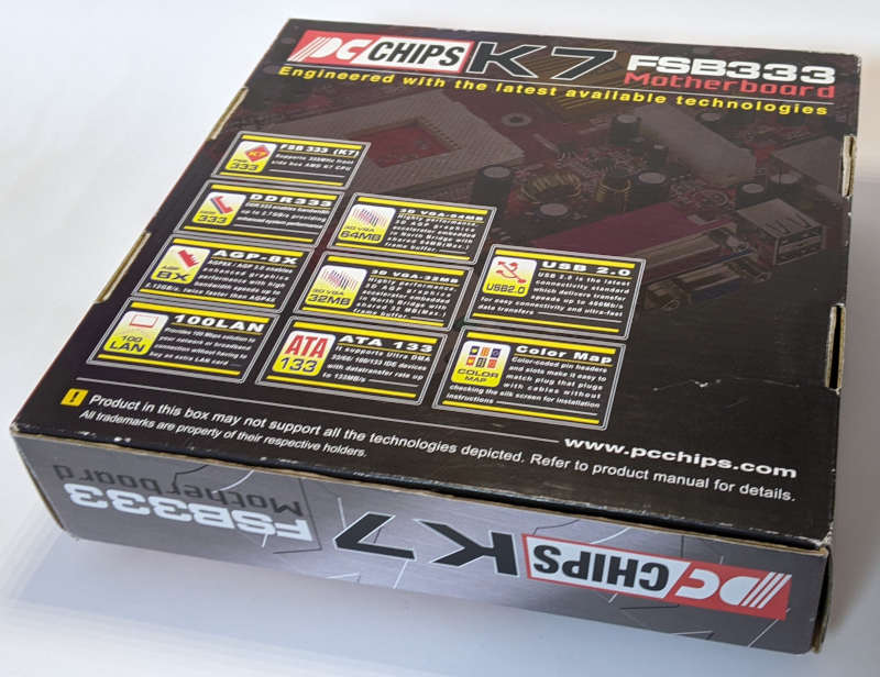 PC-Chips PC-Mainboard K7 M863G SiS 741GX Box Rückseite