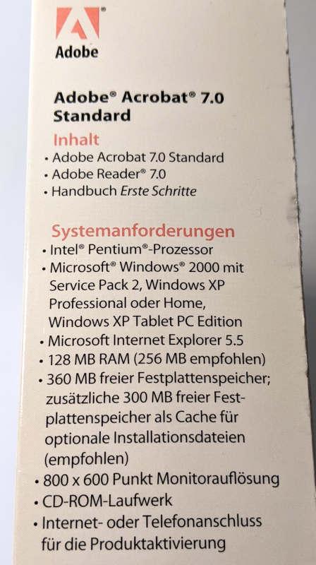 Adobe PC-Software Acrobat 7.0 Standard Systemanforderungen