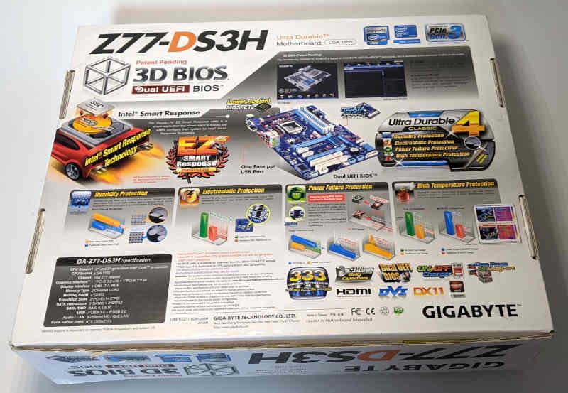 Gigabyte PC-Mainboard GA-Z77-DS3H Originalverpackung 3D Bios Box