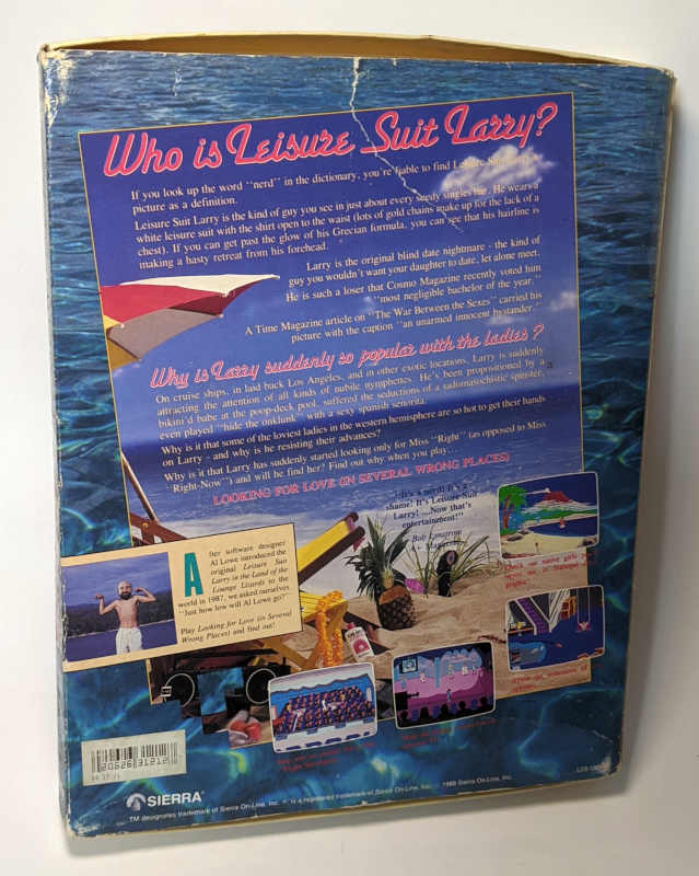Sierra On-Line Game Leisure Suit Larry 2 - Goes Looking for Love - Big Box Original