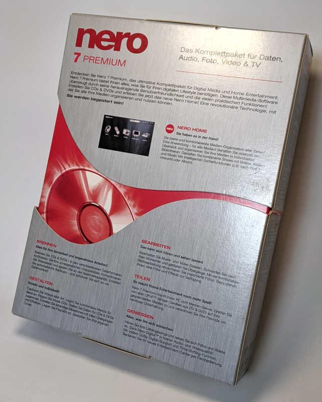 Nero 7 Premium Brennprogramm CD-Recording Software Box Rückseite