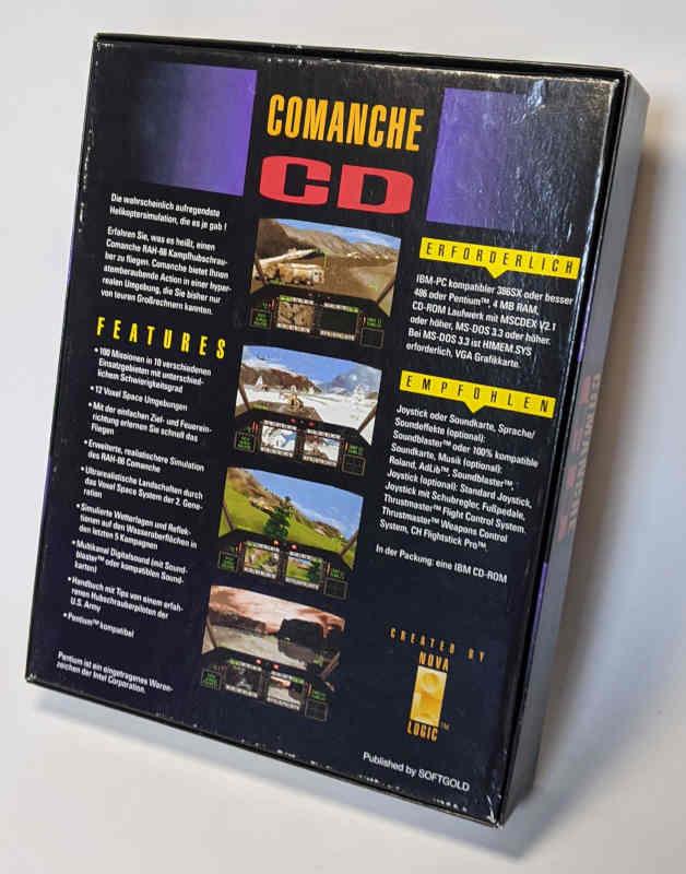 PC-Spiel Comanche CD Helikoptersimulation mit 100 Missionen Originalverpackung Rückseite