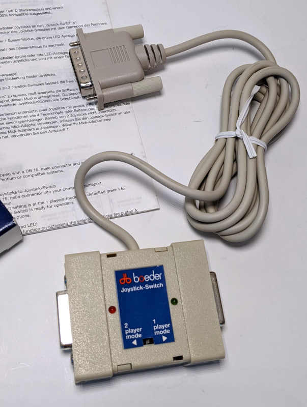 Boeder Joystick Switch Gameport für PC - 15-polig mit Kabel