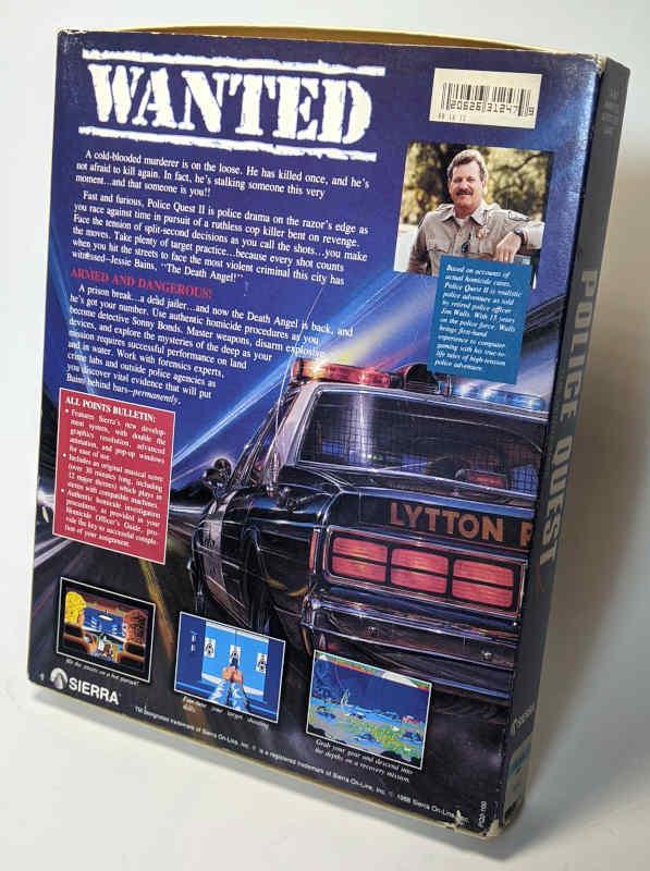 PC-Spiel Police Quest 2 - The Vengeance Originalverpackung Box Rückseite