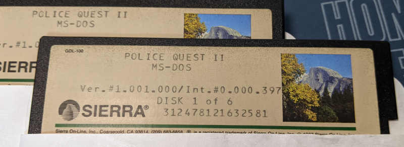 PC-Spiel Police Quest 2 - The Vengeance 5,25 Diskette MS-DOS Disk 1 of 6